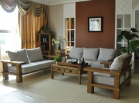 Rustic Wooden Living Room Furniture Solid Wood Sofa