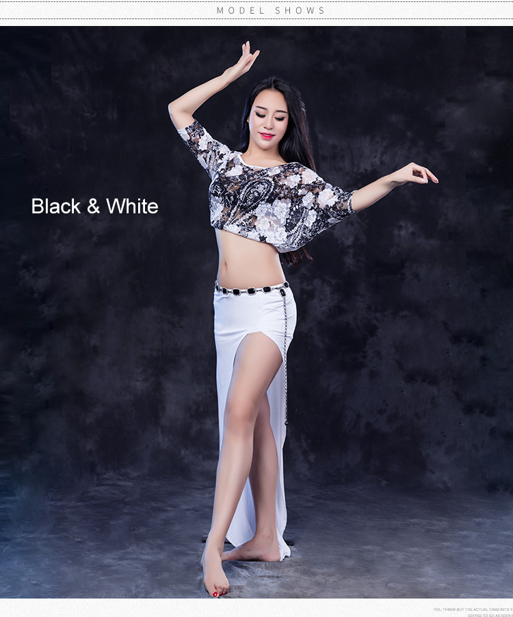 QC2775 Wuchieal Lace and Modal Ladies Belly Dance Practice Clothing