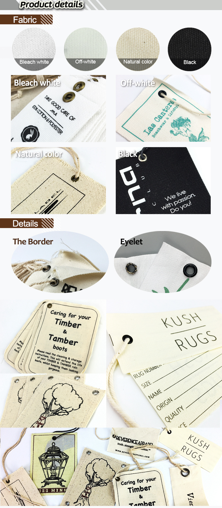 custom Natural cotton canvas fabric clothing hang tag with any type  string