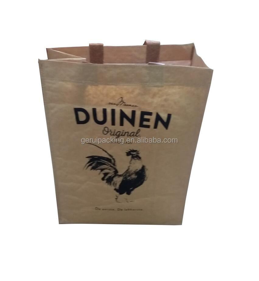 factory new design durable recycled 170GSM pp woven shopping bag with kraft paper lamination for grocery