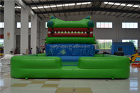 2016 Huaitong cute green crocodile inflatable water slide