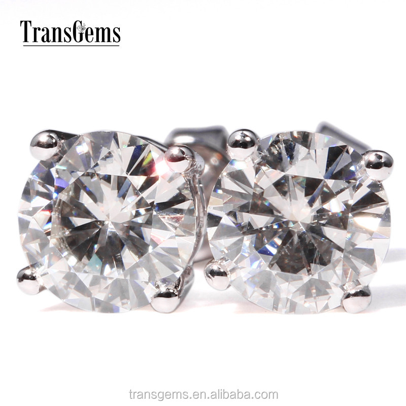 Simple Design 585 White Gold Shiny 1 Carat GH Color Synthetic Moissanite <strong>Earrings</strong>