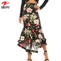 Wholesale Elegant Fishtail Floral Printed Women Sexy Long Skirt
