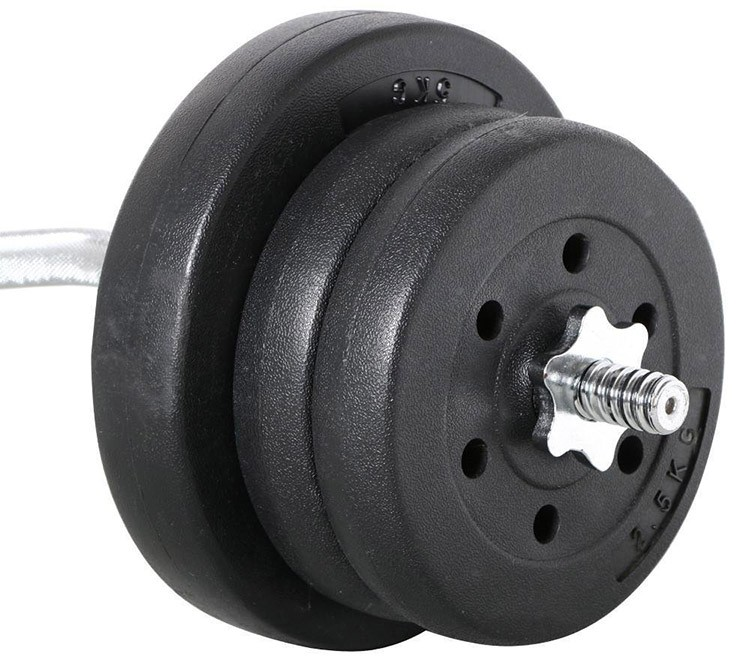 55 lb Sand and Concrete Filled Barbell Set EZ Curl Bar