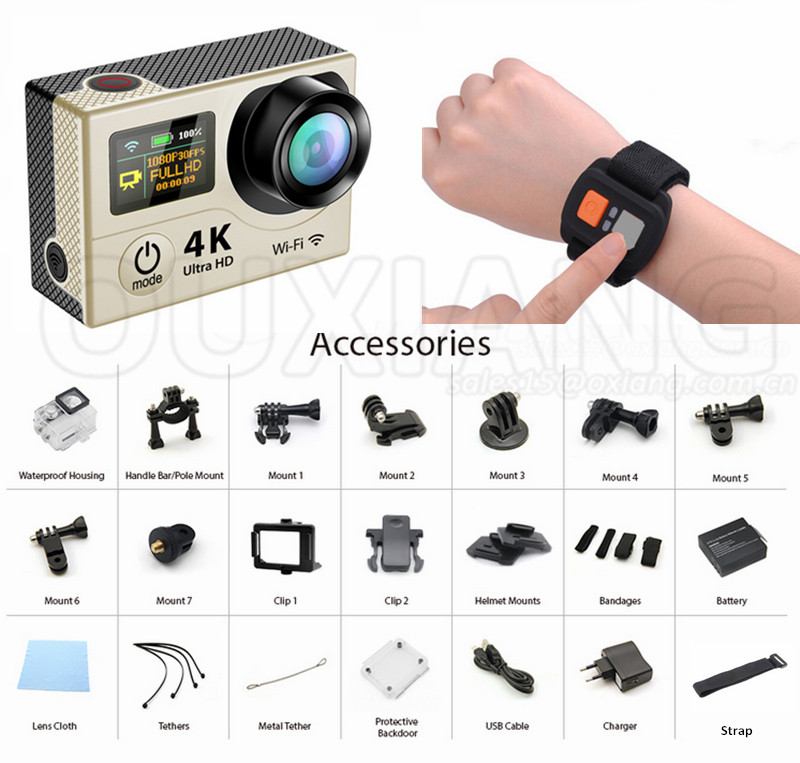 "12M 4K WiFi Action Camera Sport DV 1080P 2.0"" LCD 170 Degree 30M Waterproof Camcorder+Remote Controller"