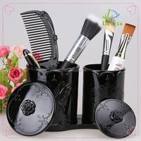 extra-large rotating desktop container makeup brush cosmetic organizer