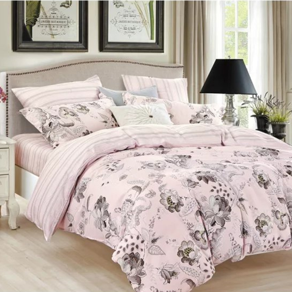 Love story wedding bed sheet set with pink flower bedsheet