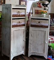 Best Price Solid Wooden Store Cabinet Washing White Wooden Cabinet With Woven Basket
