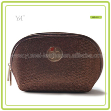 fashionable waterproof bling gold cosmetic bag leather for girls