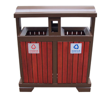Arlau outdoor solid wood waste receptacle,wooden waste bin