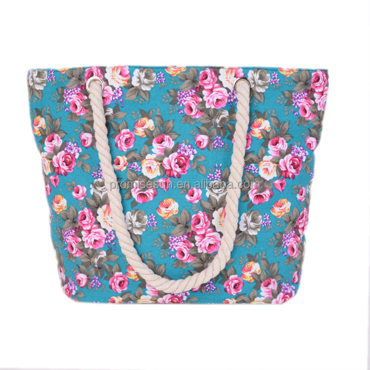 Promotional drawstring flower pattern organic cotton tote shopping custom canvas tote bag with zipper