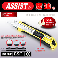 Assist brand 18mm utility knife, cutter,single blade plastic box cutter safety utility knife