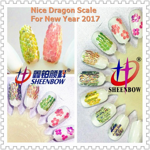 2017 newest dragon snake fish Scale 3d holoshade Glitter powder colorchart
