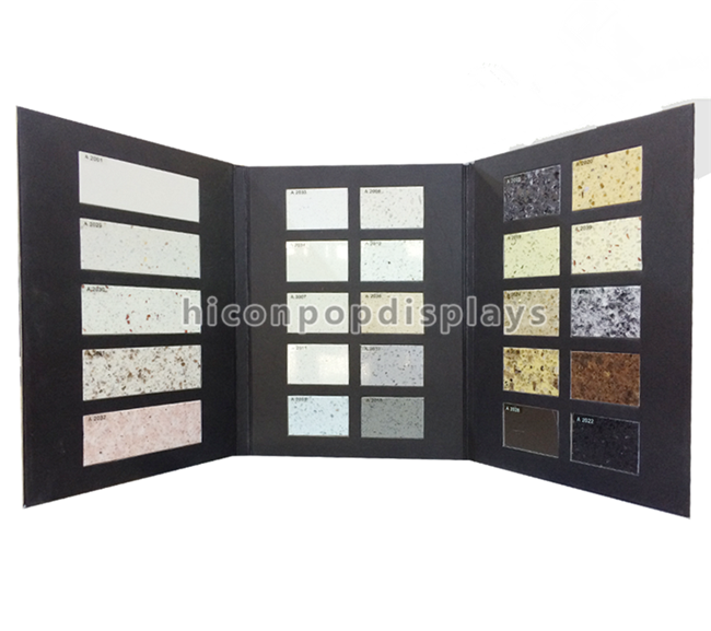 Decor Retail Store Showroom Sample Exhibition 3 Page Acrylic Base Fabric Stone Sample Book Display