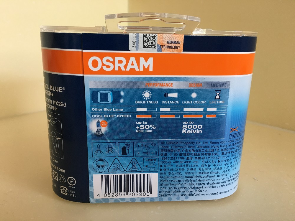 Osram Cool Blue Hyper Plus H7 12V55W 5000Kelvin Im 2er Set 62210 CBH+
