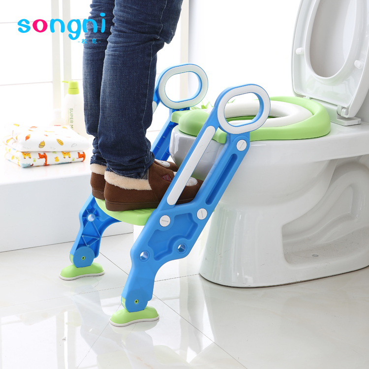 Folding Trainer Toilet Seat With Ladder Plastic Baby Potty Chair