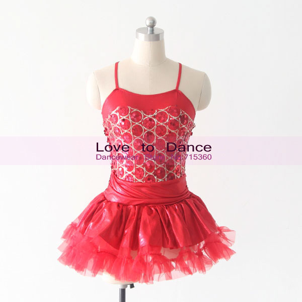 Get Quotations · Children Dance Costumes Red Sequin Dress with Tutu Girls  Tap Jazz Dance Costumes Stage Performance 2c1b7f124cfc