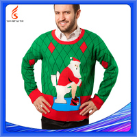 Computer Knitted Pullover Adults Wholesale Ugly Christmas Sweater Wholesaler Knitting Patterns Men's Intarsia Sweater