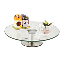 Bakeware Wedding Round Revolving Cup Cake Decorating Tools Smoother Turntable Stand Metal Rotating Base Clear Glass Cake Stand