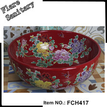 chinese traditional red flower wash basin