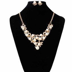 Simple fashion pearl diamond bridal wedding jewelry set