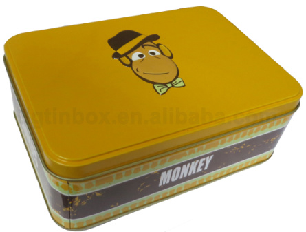 Lovely monkey rectangular biscuit cookies tin for sale
