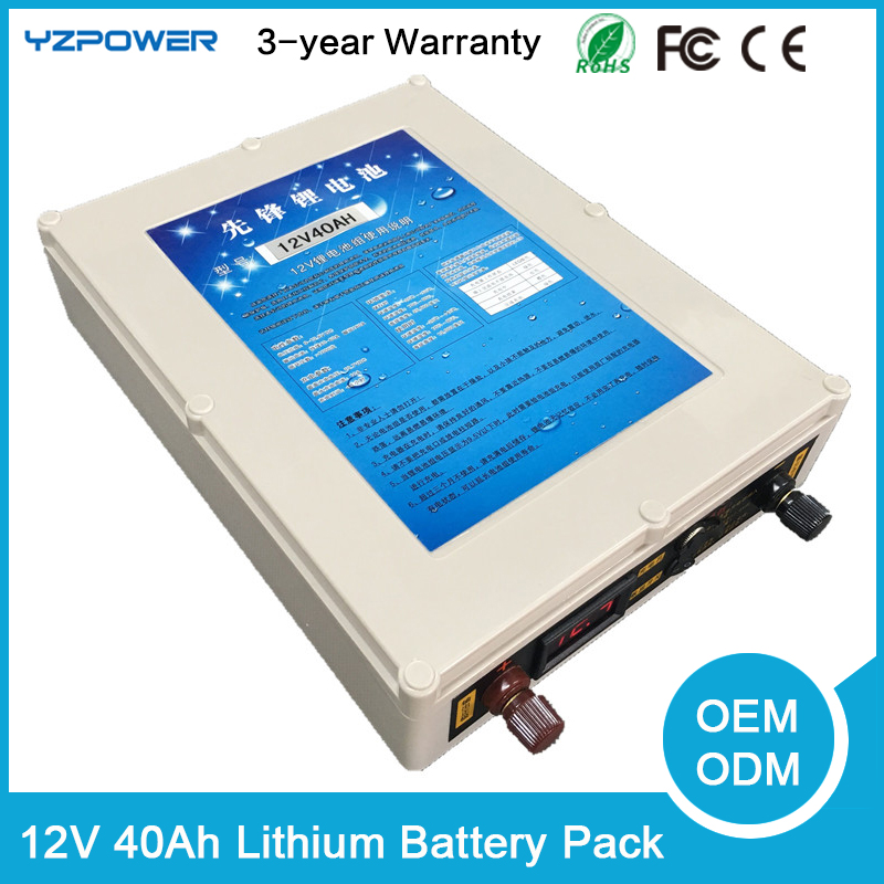 Waterproof 40AH Lipo Solar DC 12V Rechargeable Battery Storage Li ion Lithium Battery Pack for Car E-bike Deep Cycle