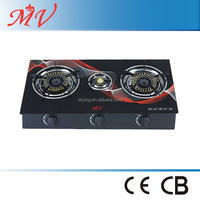 Household Gas Stove 3 Burners with Tempered Glass Top