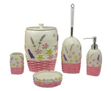 Polyresin and ceramic bathroom Accessories Set with Spring flowers series