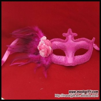 Wholesale hot pink venetian feather masks for party