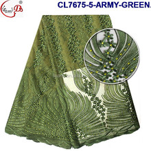 Embroidery french lace CL7675 with high quality pearls and stones for Nigeria ladies wedding party wholesale green fabrics
