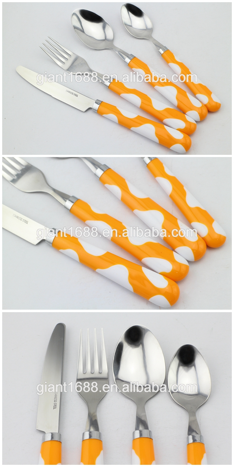 Best popular design 24pcs plastic handle cutlery set with low price and high quality