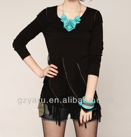 women white chiffon zip front blouse
