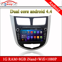 Bway Dual core Android car dvd for Hyundai Verna Accent Solaris android 4.4 car dvd player with 3G,wifi,1G RAM,8GB Nand,1080P