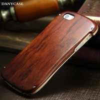 dustproof phone accessories for iphone 5s, wholesale wooden cell phone case with aluminum bumper
