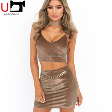 Sexy Hot Velvet Spaghetti Strap Tank Top and Bandage Mini Skirt Two Piece Set Women Clothing
