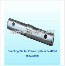 Coupling pin/pin lock for frame system scaffold
