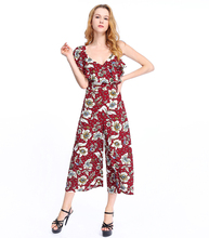 adult jumpsuit pajama chiffon playsuits printed ladies backless jumpsuit women
