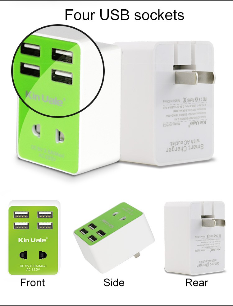 High quality multi port travel charger,mobile phone accessories,8 micro usb charger