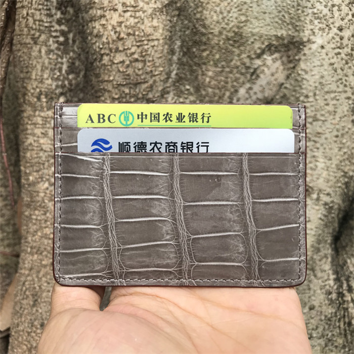 Customize card protector wallet real crocodile belly skin leather credit card holder