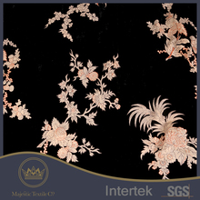 Hangzhou famous flowers embroidered burnout silk velvet fabric