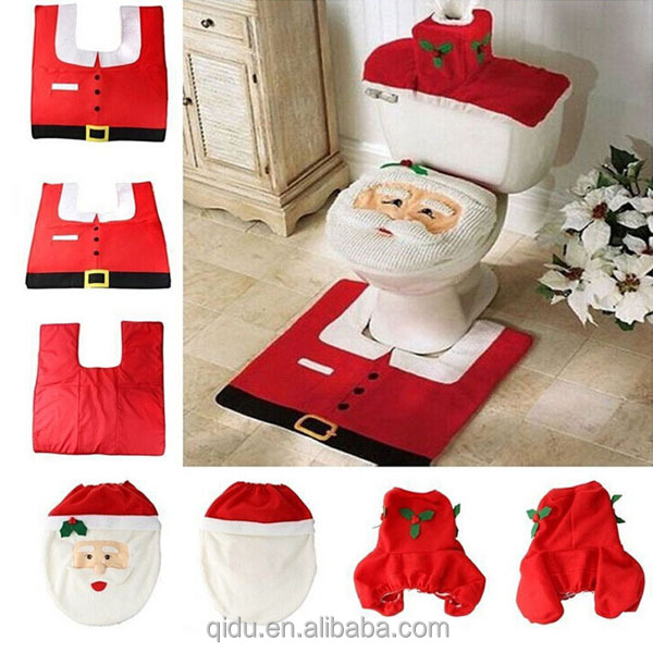 White Snowman Xmas Toilet Seat Water Box Cover Fabric Door Mat Christmas Home Decor