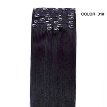 Full end 9 piece Clip hair extensions 100% brazilian human hair for black women