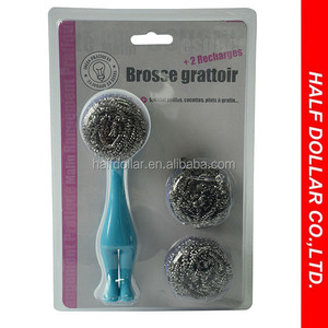 high quality stainless/iron kitchen cleaning scourer/cleaning ball with handle