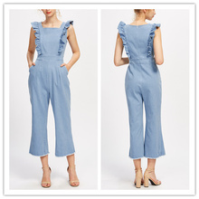 Pictures of Sexy Girls Wearing Adult Onesie Frill Jean Denim Pinafore Jumpsuit hsj2209