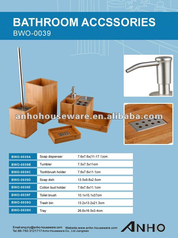 Hot Sale lacquered bamboo square bathroom set with tray