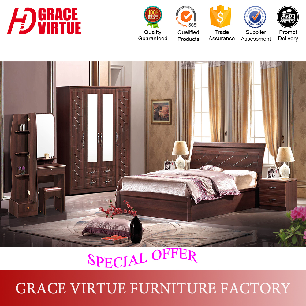 Cheap modern simple design pvc membrane bedroom set mdf bedroom furniture