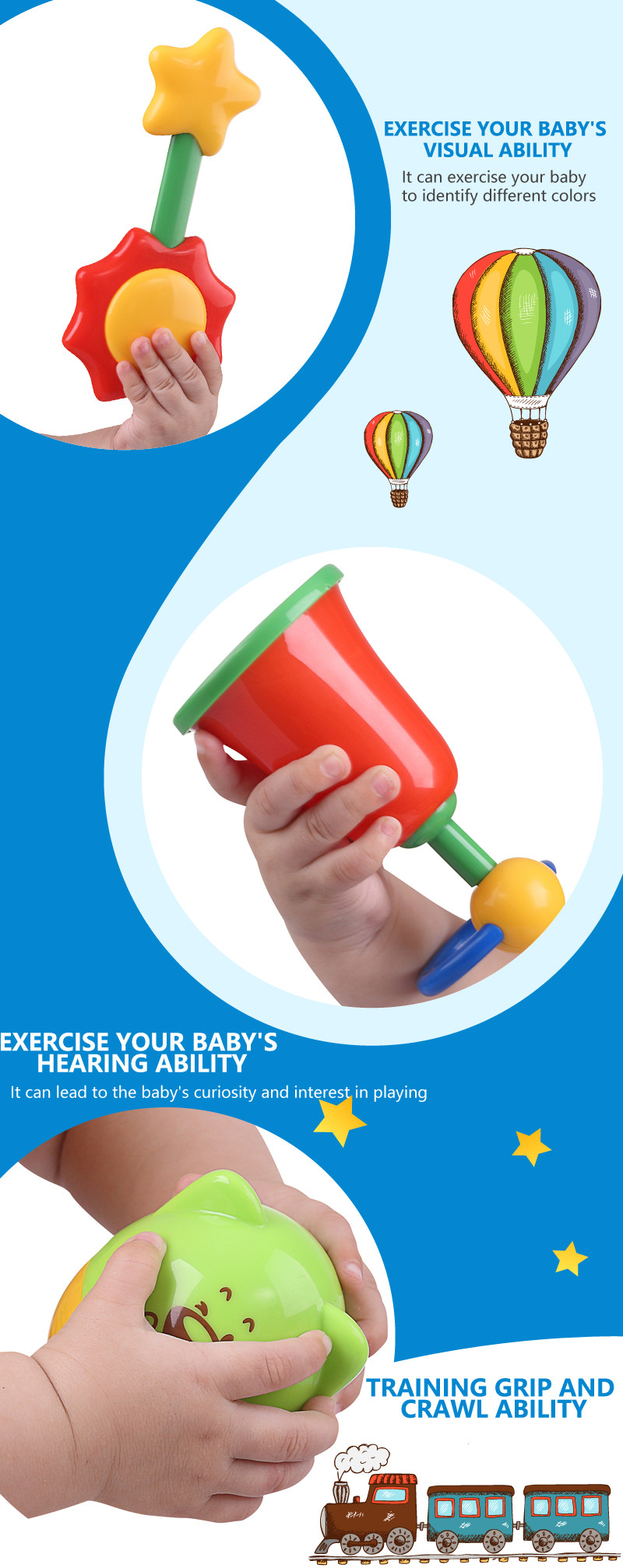 Free Sample Infant toy shaker educational toy baby rattle