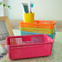 Plastic Rectangle Shape Storage Basket With Rings(L) Colorful Basket