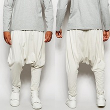 Hotsell good quality man street-style fashion lightwieght sweat side slant pockets drop crotch men harem pants